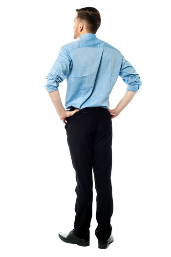 Back pose of a casual businessman