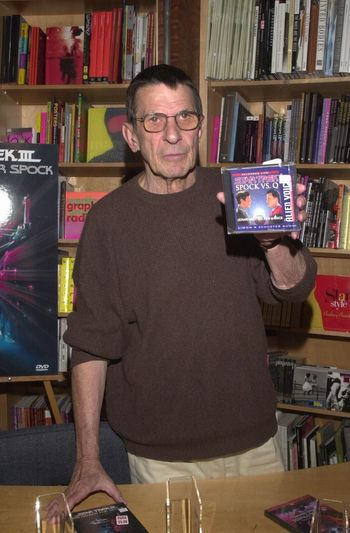 """Leonard Nimoy at the Virgin Megastore in Hollywood to sign copies of the new DVD release of """"Star Trek III: The Search For Spock,"""" among other items, 04-26-00"""