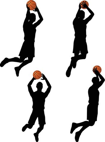 vector basketball players silhouette collection in slam position