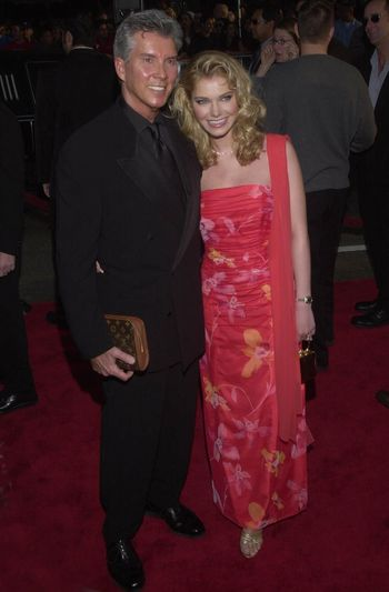 """Michael Buffer and wife Helena at the premiere of Warner Brother's """"READY TO RUMBLE"""" in Hollywood, 04-05-00"""