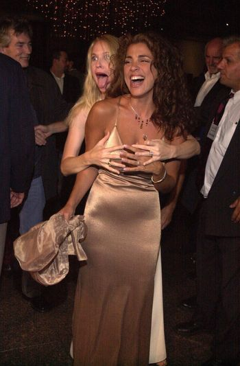 Elizabeth Giordano and Brooke Theiss at the premiere of Very mean Men in Beverly Hills. 08-15-00