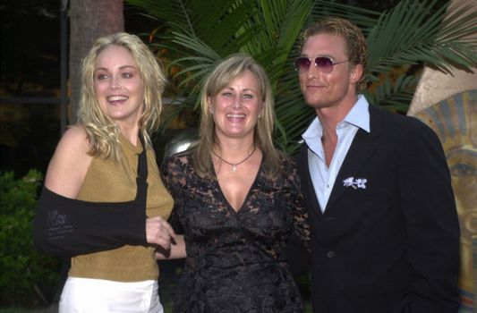 Sharon Stone, Kelly Stone and Matthew McConaughey at the Planet Hope Gala hosted by Sharon and Kelly Stone in Woodland Hills. 08-07-00