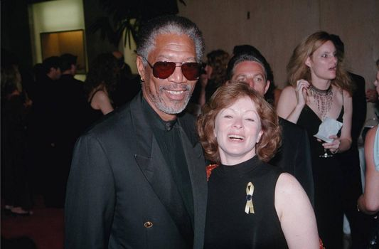 Morgan Freeman and Frances Fisher at the Hollywood Film Awards in Beverly Hills. 08-08-00