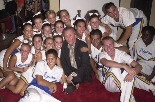 """Jon Voight and The Agoura High School Cheerleaders at the premiere of """"Bring It On"""" in Westwood. 08-22-00"""
