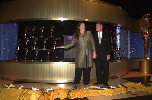 Camryn Manheim, Jim Chain and The Emmys at the arrival of the Emmy Statues at Universal Studios. 08-22-00