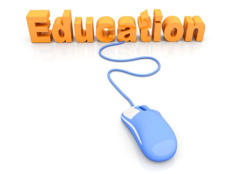 Online Education. 3D rendered Illustration. Isolated on white.