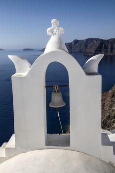 white church ,blue sea and sky ,Santorini, Greece