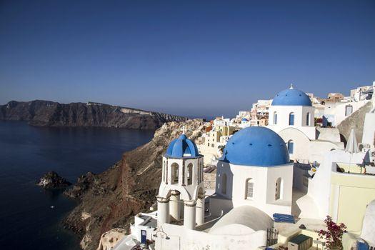 Blue and white church of Oia village, Santorini ,Greece
