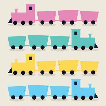 Colorful cartoon vehicles set. Vector Illustration