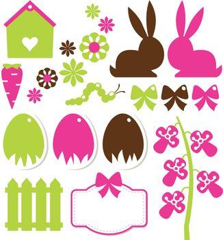 Colorful spring and easter design elements. Vector Illustration