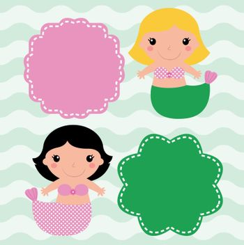 Cute Mermaids with banners ( pink and green ). Vector