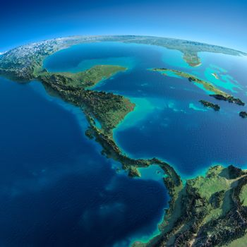 Detailed Earth.The countries of Central America