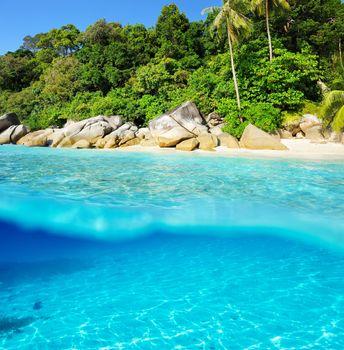 Beautiful beach with white sand bottom
