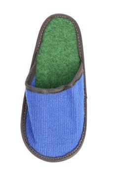 Blue slipper on a white background