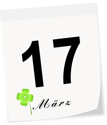 St.Patrick's Day on March 17 th. Calendar page.