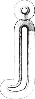 Grunge Font. Letter j