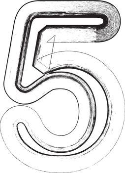 Grunge Font. Number 5