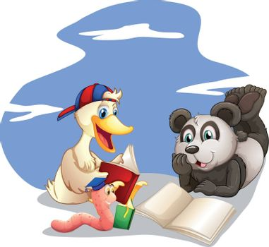 Illustration of the animals reading books on a white background