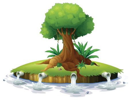 Illustration of a big tree in an island on a white background