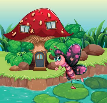 A butterfly waving near the red mushroom house