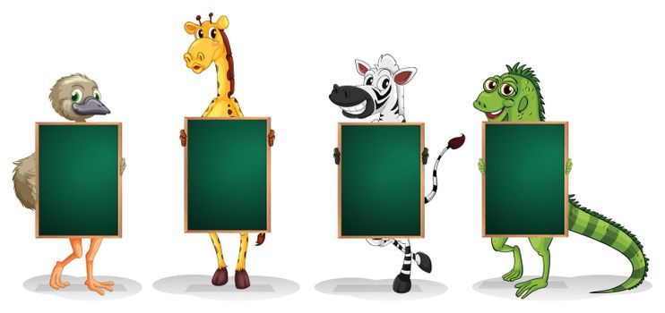 Illustration of the four animals standing with empty boards on a white background
