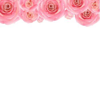 Pastel Pink Rose Border, With Gradient Mesh, Vector Illustration