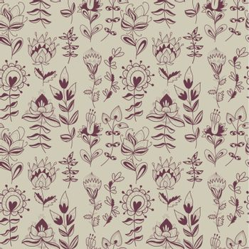 abstract floral pattern. contour hand-drawn