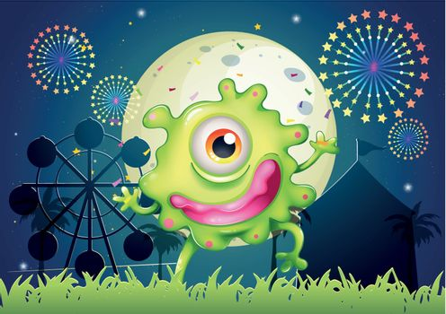 A one-eyed green monster at the amusement park