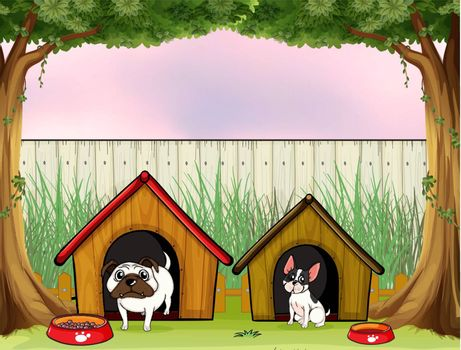 Illustration of the two pets inside the fence with wooden houses
