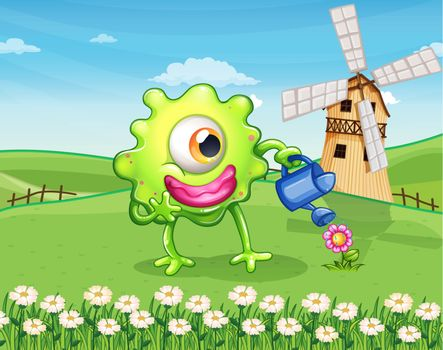 A one-eyed monster watering the plant at the hilltop