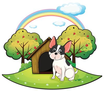 Illustration of a dog beside a dog house on a white background