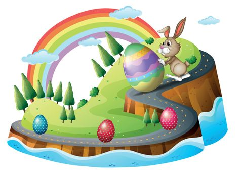 Illustration of an Easter day with easter eggs on a white background
