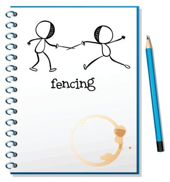 Illustration of a notebook with a sketch of two people fencing on a white background