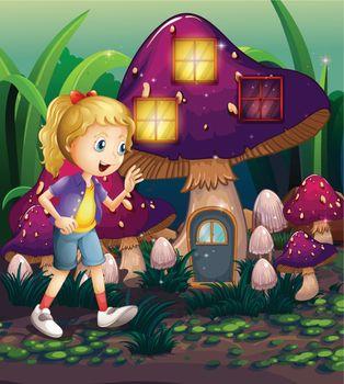 A young girl at the enchanted mushroom house