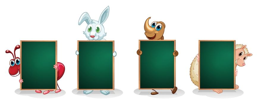 Illustration of the four animals with empty green signboards on a white background