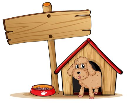 Illustration of a cute dog at his dog house on a white background