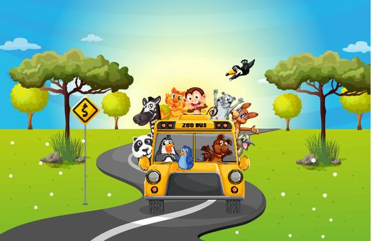 Illustration of a zoo bus travelling loaded with animals