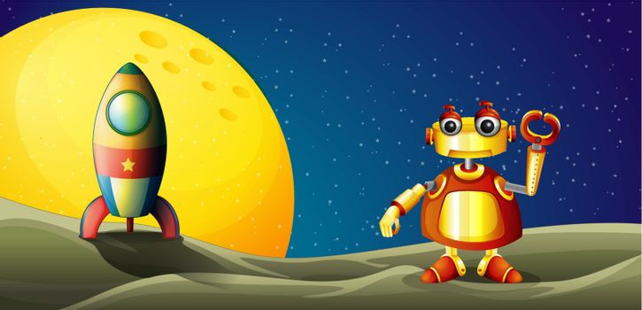Illustration of a robot and a spaceship in the outer space