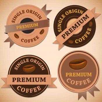 Set of vintage retro coffee badges, stock vector