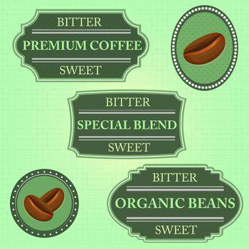 Set of bitter sweet coffee on green badge, stock vector