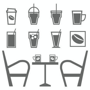 Set of drinks in coffee shop on white background, stock vector