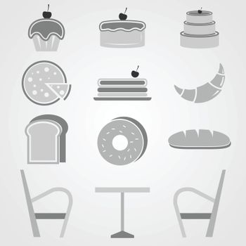 Variety of bakery icons in coffee shop, stock vector