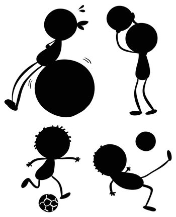 Illustration of the silhouettes of sporty people on a white background