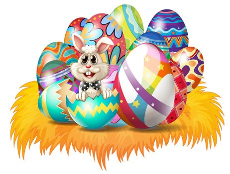 Illustration of easter eggs with an Easter bunny on a white background