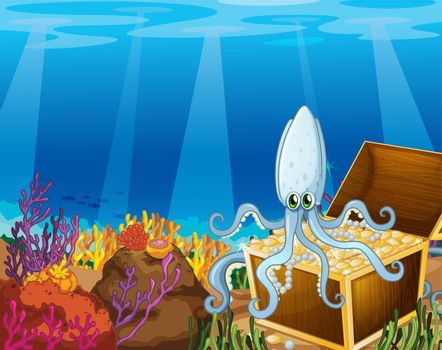 A treasure box under the sea with an octopus