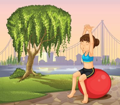 A girl exercising with a bouncing ball near the giant tree