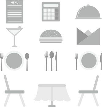 Restaurant icons on white background, stock vector