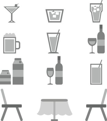 Drinks icons in restaurant on white background, stock vector