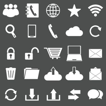 Communication icons on gray background, stock vector