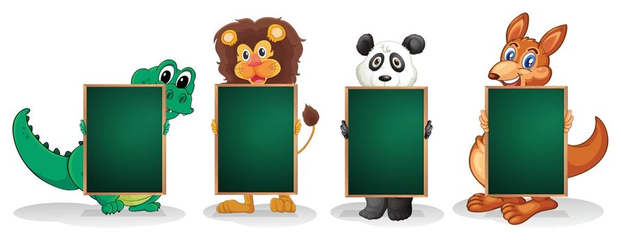 Illustration of the four animals forming a line with empty blackboards on a white background